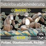 Drei Affen der BR-Behinderung. Grafik der Aktion Arbeitsunrecht