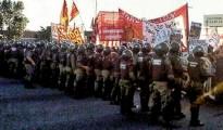 Streik im öffentlichen Dienst Argentiniens am 7.2.2016 - hier Ölarbeiter in Chubut