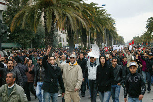 Demonstration in Gafsa am 10.2.2016