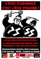 Anarchistisches Plkakat gegen Notstand in Frankreich Dezember 2015