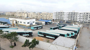 Bestreikter Busbahnhof in Casablanca am 24.2.2016