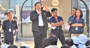 Gewerkschaftsprotest bei thailändischer Fischkonservenfabrik im Februar 2016