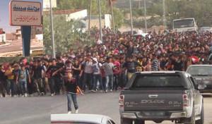Demonstration gegen Erwerbslosigkeit in ganz Tunesien - hier am 29.1.2016 in Sebiba