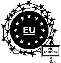 EU: No Entrance. Titelbild zum isw-report 104 - Auf der Flucht. Fluchtursachen. Festung Europa. Alternativen. (Festung Europa, Februar 2016)