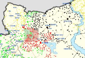 Ausschnitt aus einer Karte zum Syrien-Konflikt, Februar 2016 (https://en.wikipedia.org/wiki/Template:Syrian_Civil_War_detailed_map)