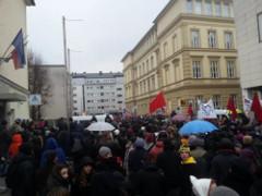 Demonstration in Ljubljana gegen die Flüchtlingspolitik der slowenischen Regierung Februar 2016