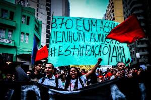 Demonstration gegen Fahrpreiserhöhung in Sao Paulo am 4.2.2016