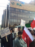 Protest der PIA Beschäftigten gegen den Polizeimord an Streikenden in Karachis 3.2.2016