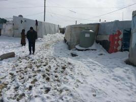 Lager für syrische Flüchtlinge hinter der jordanischen grenze im Januar 2016
