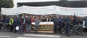 Streikende marokkanische Stahlarbeiter 4.3.2016