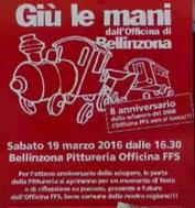 Officina Bellinzona: Einladungsplakat zum Officina-Fest am 19. März 2016. Foto: Rainer Thomann