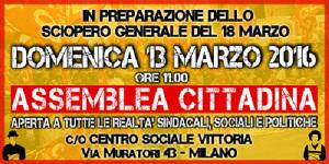SI Cobas Plakat mit Aufruf zu Strassenversammlungen in Vorbereitung des Streiktages 18.3.2016