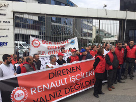 Solidaritätsdemonstration mit der streikende Belegschaft von Renault Bursa am 1.3.2016