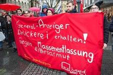 Kundgebung gegen die Entlassungen beim Bonner General-Anzeiger am 05.03.2016 in Bonn. Foto: ver.di Bezirk NRW-Süd, FB8