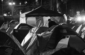 Zeltlager der Protestierer in Chisinau von Oktober 2015 bis Januar 2016