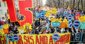Mindestlohndemo New York Otkober 2015