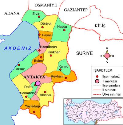Karte der Provinz Hatay im Südwesten der Türkei mit ihren Bezirken