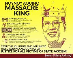 Plakat des Gewerkschaftsbundes KMU zur Verantwortung der regierung der Philippinen am Bauernmod am 1.4.2016
