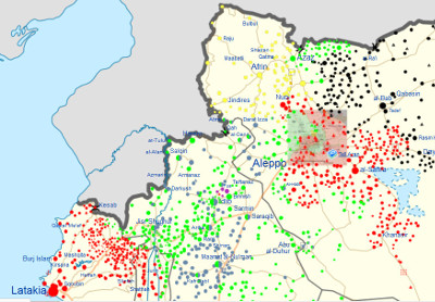 Nordwestliches Syrien mit Verteilung der kämpfenden Gruppierungen