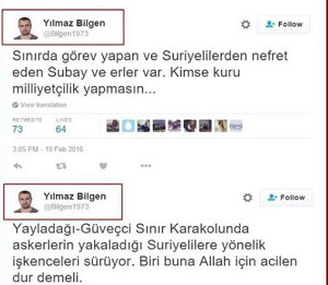 Screenshot mit Twitter-Äußerungen von Yilmaz Bilgen