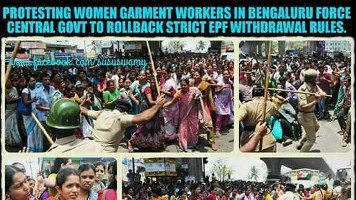 Protestplakat gegen Massenfestnahmen streikender Textilarbeiterinnen in Bangalore vom 5.5.2016