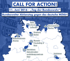 """Call for Action: 11. Juni 2016 - """"Tag der Bundeswehr"""" - Bundesweiter Anktionstag gegen das deutsche Militär"""