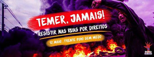 Plakat gegen den brasilianischen Putschpräsidenten Temer bei der Demonstration vor dem Senat in Brasilia am 12. Mai 2016