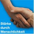 """""""Stärke durch Menschlichkeit"""" - Eigenwerbung der Diakonie (gefunden bei dem Diakonischen Werk Passau)"""