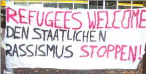 """Refugees Welceome -staatlichen Rassismus stoppen! Titelbild der Gewantifa-Broschüre """"Staatlicher Terror und Nazi-Terror gegen Refugees 2015/16"""" vom Mai 2016"""