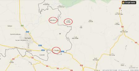Diese Karte zeigt das Dorf Bükülmez, den Grenzübergang Cilvegözü und das Flüchtlingslager Atme entlang der Grenze zwischen Reyhanlı (Türkei) und Idlib (Syrien) (2. Bericht des Friedensratschlags Hatay - April 2016)