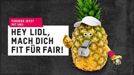 """Protest von Oxfam Deutschland """"Hey Lidl, mach Dich fit für fair!"""""""