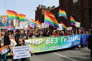 1. Mai 2016 Petersburg - weniger Russlandfahnen als in Moskau