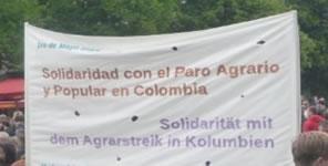 """Aufruf """"Streike hart! der Kolumbienkampagne: Landwirtschaftsstreik in Kolumbien. Soli-Aktion in Berlin am 3. Juni 2016"""