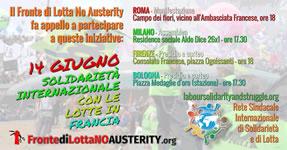 Gewerkschaftliche Solidarität mit dem Kampf gegen das neue Arbeitsgesetz in Frankreich aus Italien