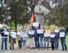 Solidaritätsaktion der IGM Wuppertal im Mai 2016 - mit den verfolgten iranischen Gewerkschaftern