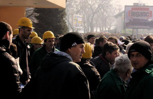 Streikversammlung Bukarest 2015