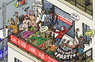 Das Wimmelbild »Recht auf Stadt« wurde gezeichnet von Markus Wende nach einer Idee von Marc Amann: http://wimmelbild.animationsfilm.de/