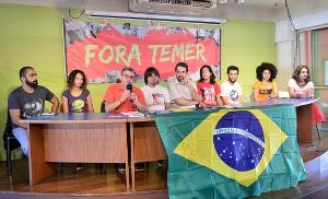Pressekonferenz zur Demonstration aus Anlass der Eröffnung der Olympiade in Rio am 5.8.2016