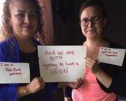 Gemeinsam für 15 Dollar - FastFodd-Arbeiterin und Gewerkschafts(nicht)angestellt