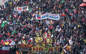 Demonstration Santiago de Chile am 21.8.2016 - für die Abschaffung der privaten Rentenversicherung