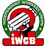 Logo der Basisgewerkschaft IWGB bei Deliveroo in London
