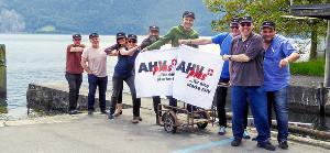 Unia-Kollegen demonstrieren in der schweiz für eine bessere Rente - im August 2016