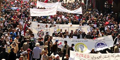 Juli 2016: marokkanische Regierung will ein neues Streikrecht - die Gewerkschaften demonstrieren dagegen