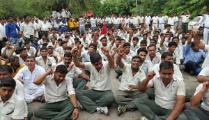 Demonstration in Delhi zum 4. Jahrestag der Verhaftung der Suzuki Gewerkschafter am 18.7.2016