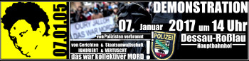 Oury Jalloh - das war Mord! Demonstration am 7. Januar 2017 in Dessau