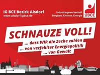 """Die Aktion - Wir haben die""""Schnauze voll"""" von Gewalt! auf der Homepage der lG BCE Bezirk Alsdorf"""