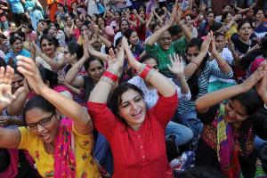 Indischer Generalstreik 2.9.2016 - die Arbeiterinnen von Chandigarh