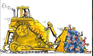 Gewerkschaftsplakat gegen Werksschliessung caterpillar Belgien im September 2016