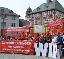 Solidarität mit den Streikenden bei der Firma Zumtobel in Usingen