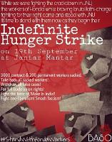 Indien: Studentisches Soliplakat mit Honda-Hungerstreik in Delhi ab 19.9.2016